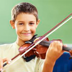 Boy Playing a Viola